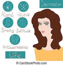 kvinna, hälsa, mental, fördjupning