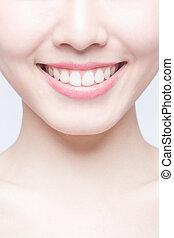 kvinna, hälsa, ung, tänder