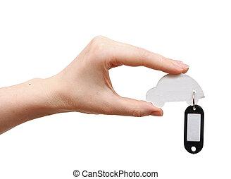 kvinna, hålla lämna, modellera bil, med, tom, etikett, isolerat, vita, bakgrund., utrymme, för, din, text