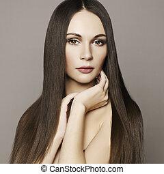 kvinna, hår sätt, magnifik, vacker, foto