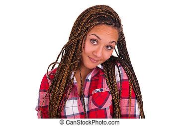 kvinna, hår, svart amerikan, ung, afrikansk, länge, vacker