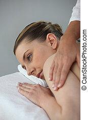 kvinna, ha, massera