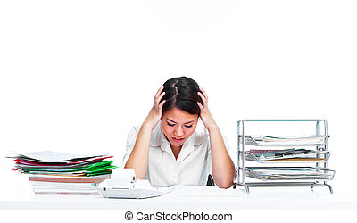 kvinna, ha, stress., affär, ung