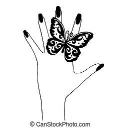 kvinna, hand, med, fjäril