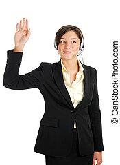 kvinna, hand, telekommunikation, upprest, henne