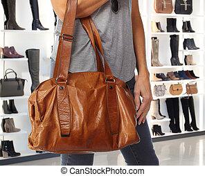 kvinna, handbag., inköp