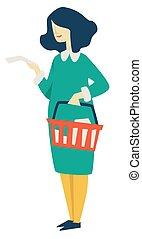 kvinna handling, mat, lista, supermarket, korg