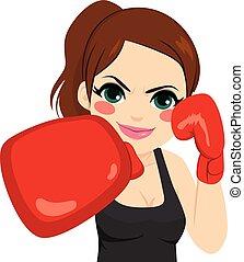 kvinna, handskar, boxning