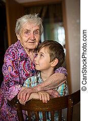 kvinna, hans, ung, grandson.