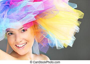 kvinna, hatt, färgrik, fashionabel