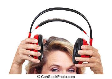 kvinna, headphones., lycklig