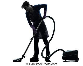 kvinna, hembiträde, hushållsarbete, dammsugare, silhuett