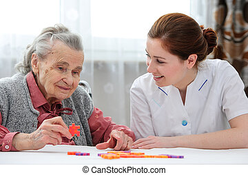 kvinna, henne, äldre, senior, sköta, omsorg