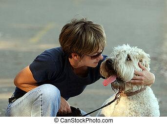 kvinna, henne, hund