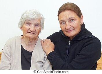 kvinna, henne, mor