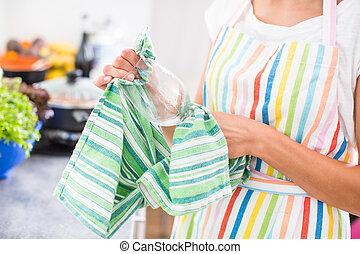 kvinna, henne, nymodig, ung, glas, polering, kök