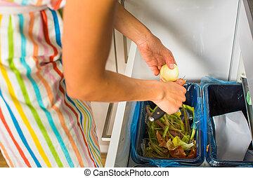 kvinna, henne, nymodig, ung, matlagning, kök