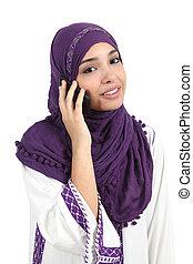 kvinna, hijab, tröttsam, arab, ringa, vacker