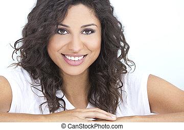 kvinna, hispanic, glada leende, vacker