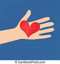 kvinna, hjärta, kärlek, röd, hand