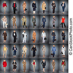 kvinna, hos, a, mogna, ålder, in, olik, kläder