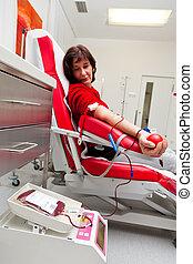 kvinna, hos, den, bloddonation