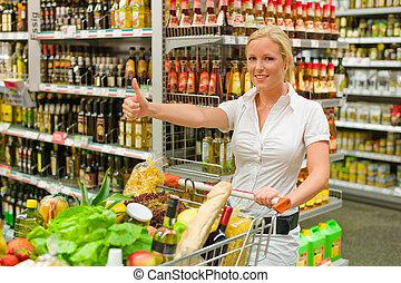 kvinna, hos, den, supermarket