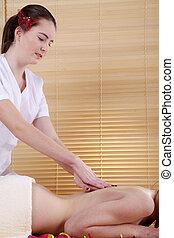 kvinna, hos, massera