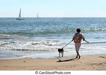 kvinna, hund