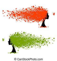 kvinna, huvud, med, blommig, frisyr, för, din, design