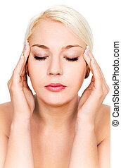 kvinna, huvudvärk