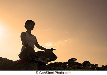 kvinna, i ställning, av, den, tillverkning, lotus