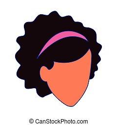 kvinna, ikon, hår, lockig