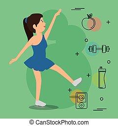 kvinna, ikonen, dansande, sports