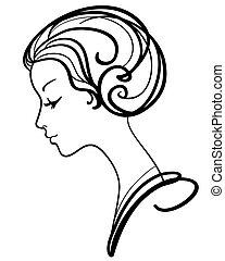 kvinna, illustration, ansikte, vektor, vacker