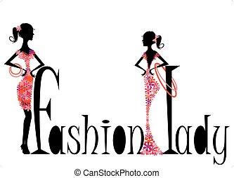 kvinna, illustration, mode