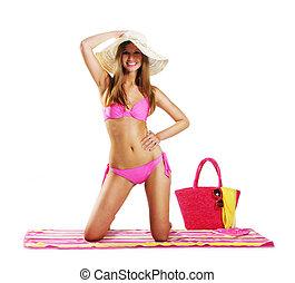 kvinna, in, bikini