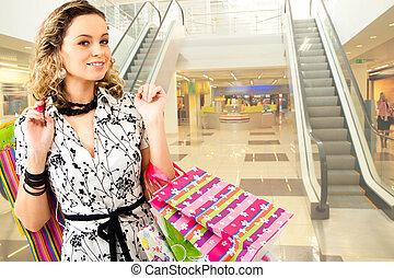kvinna, in, den, köpcenter