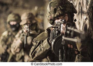 kvinna, in, den, militär