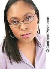 kvinna, in, glasögon