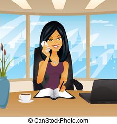 kvinna, in, kontor, tel