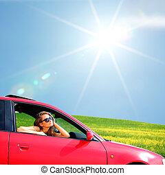 kvinna, in, röd bil