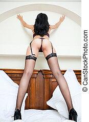 kvinna, in, strumpan, med, sexig, åsna, och, ben