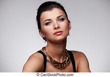 kvinna, in, uteslutande, smycken