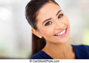 kvinna, indisk, lycklig