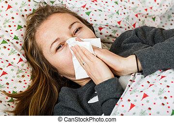 kvinna, influensa, sjuk, fik
