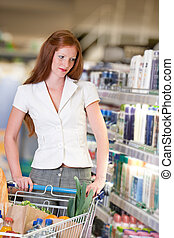 kvinna, inköp, serie,  -, hår, röd