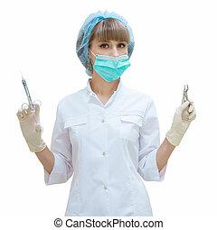 kvinna, isolerat, hand, tandläkare, bakgrund, vit, redskapen