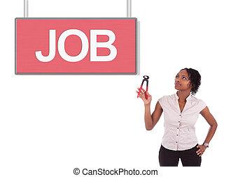 kvinna, jobb, ungt se, amerikan, afrikansk