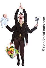 kvinna, jonglera, frukt